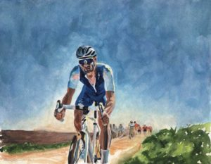 Tom Boonen's final Paris-Roubaix, watercolor & acrylic on paper, 2017 - original artwork by Rachel Petruccillo #bicycles #vintagebicycle #cyclingart